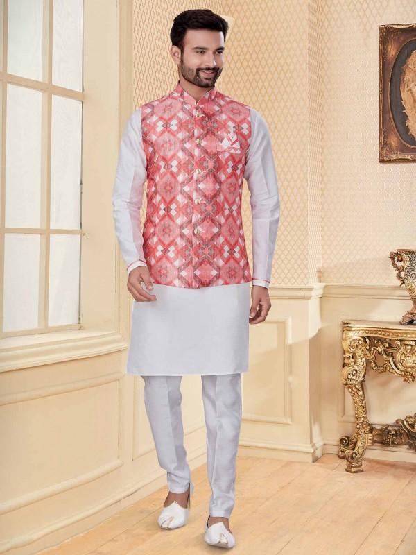 White,Pink Colour Silk,Jacquard Fabric Kurta Pajama.