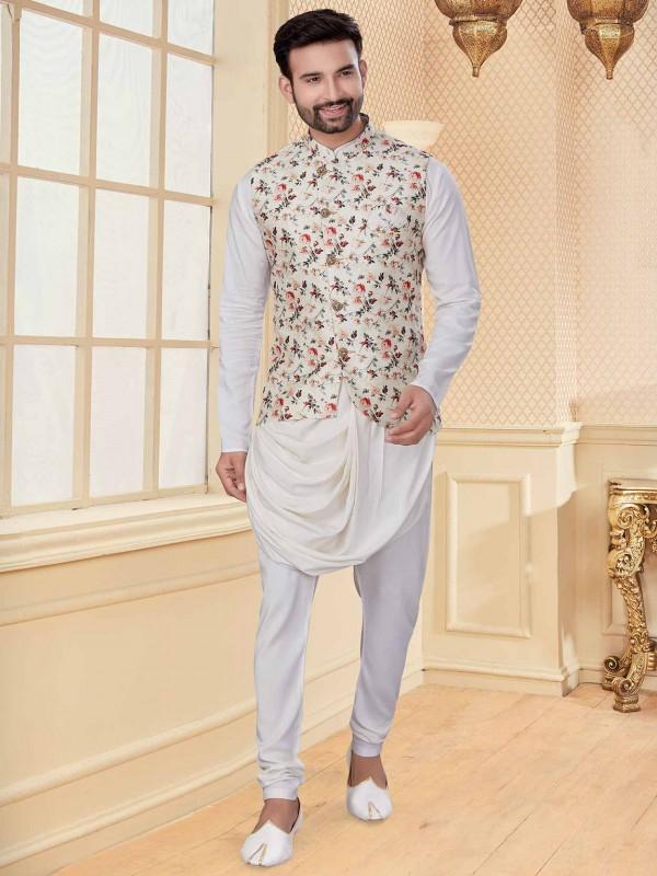 White,Cream Colour Silk,Jacquard Fabric Designer Kurta Pajama.