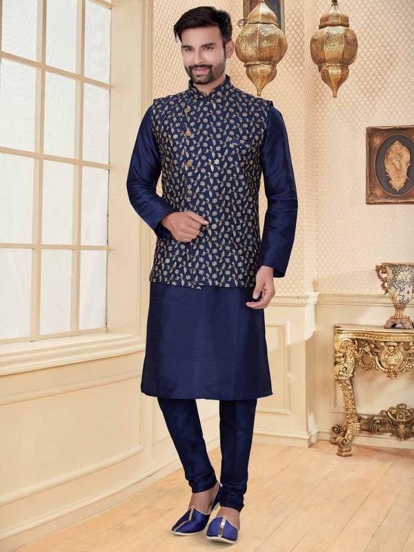Navy Blue Colour Silk Fabric Party Wear Kurta Pajama.