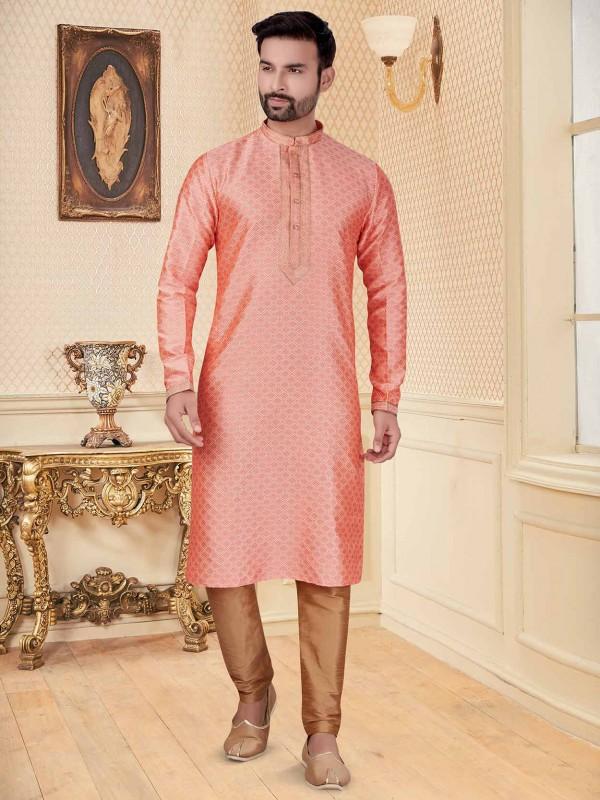 Peach Colour Jacquard Fabric Men's Kurta Pajama.