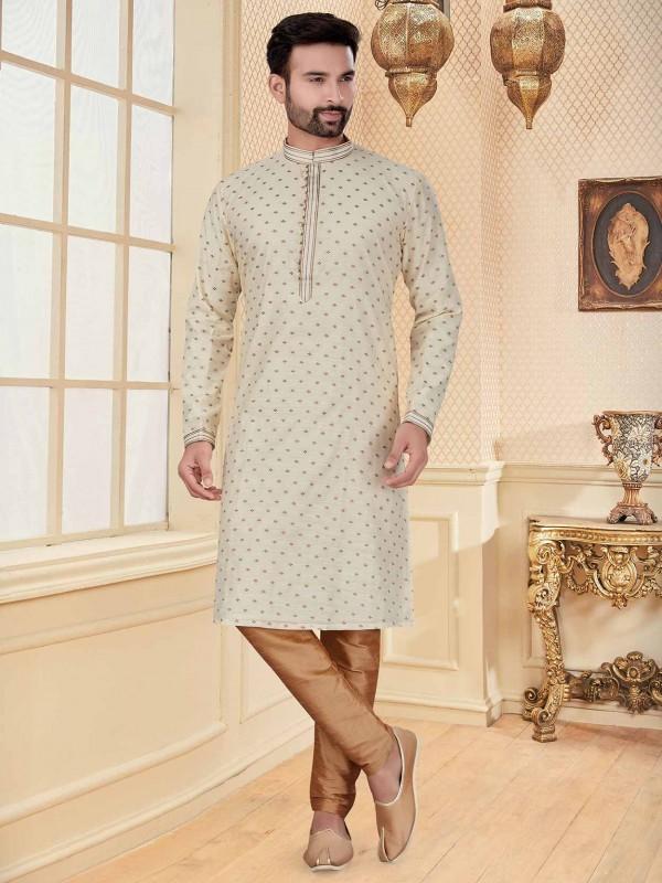 Cream Colour Jacquard Fabric Readymade Kurta Pajama.