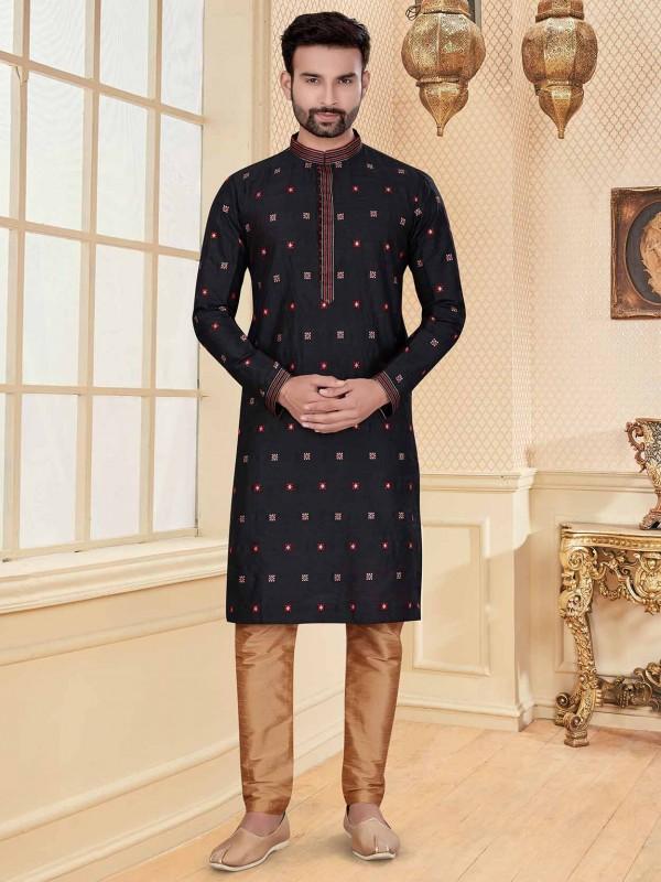 Black Colour Silk Kurta Pajama For Men.