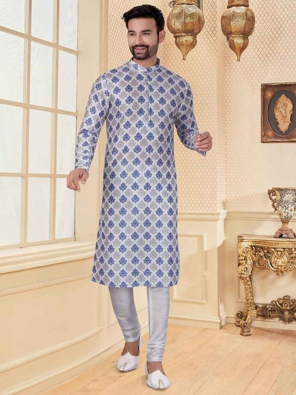 White Colour Silk Fabric Digital Print Kurta Pajama.