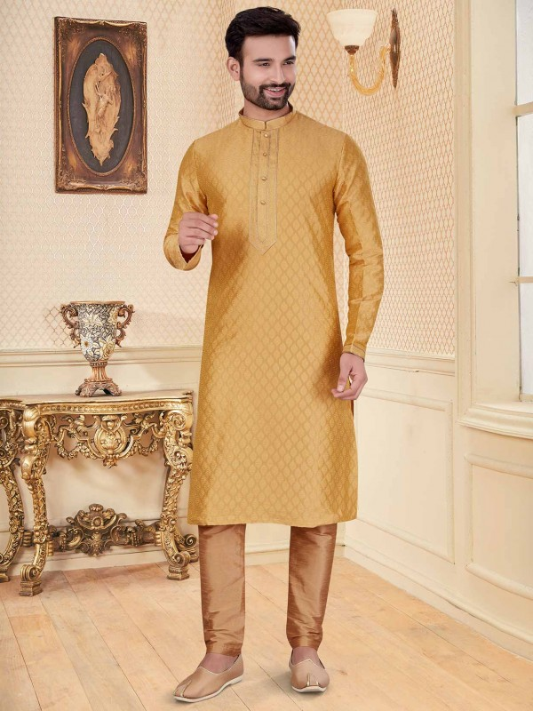 Golden Colour Jacquard Fabric Wedding Kurta Pajama.