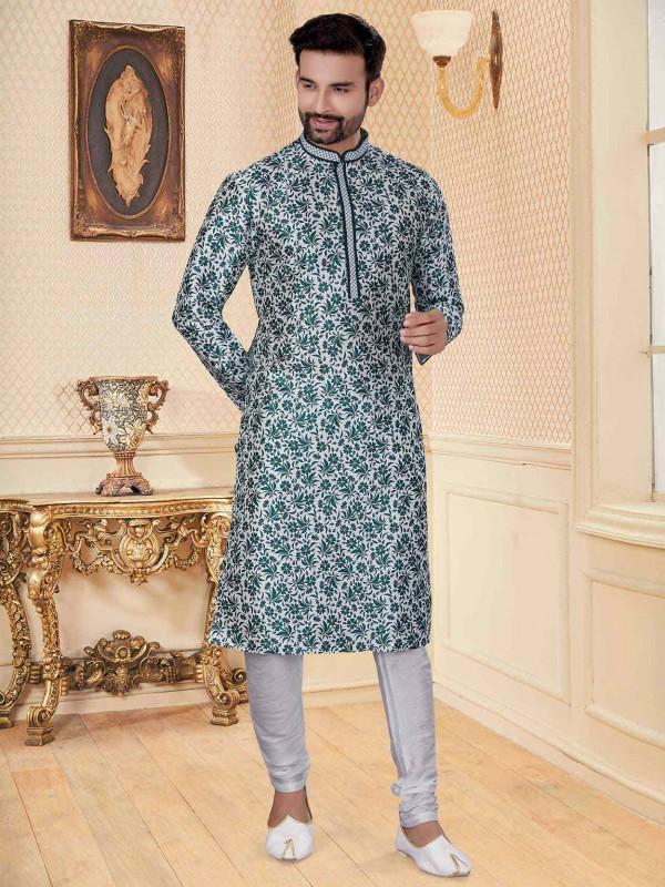 White,Green Colour Silk Men's Kurta Pajama.
