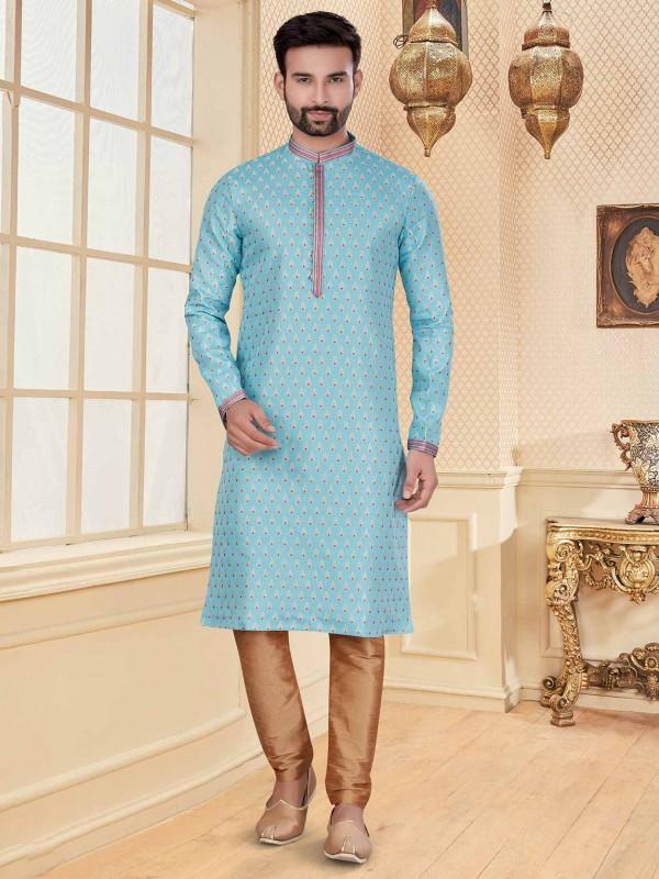 Sky Blue Colour Jacquard Kurta Pajama.