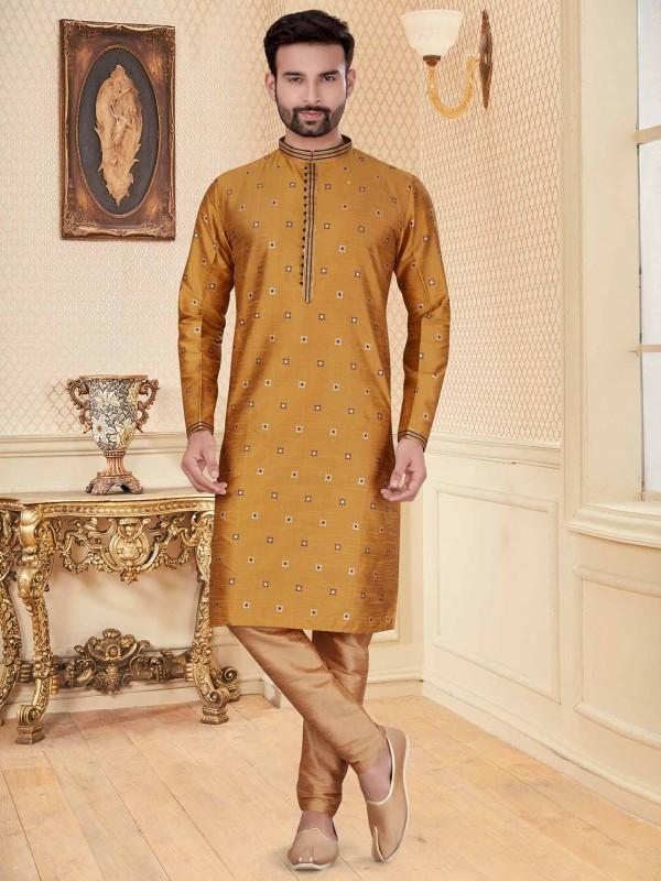 Mustard Yellow Colour Silk Kurta Pajama.