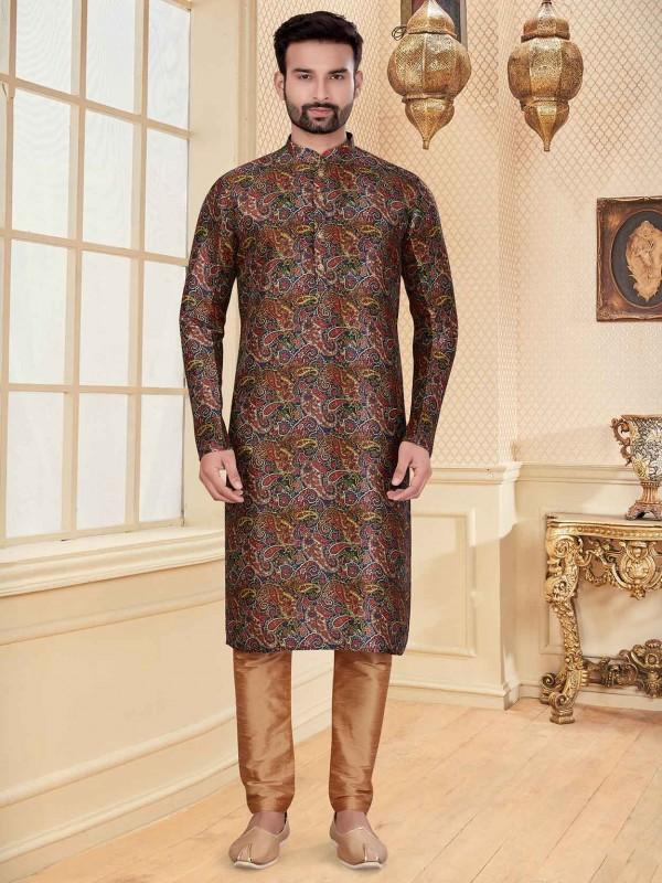 Multi Colour Silk Fabric Digital Print Kurta Pajama.