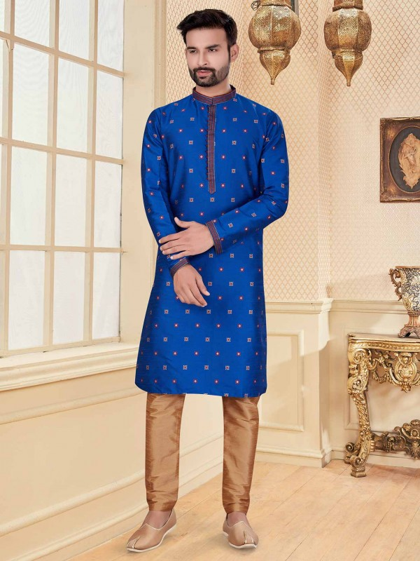 Royal Blue Colour Silk Fabric Men's Kurta Pajama.