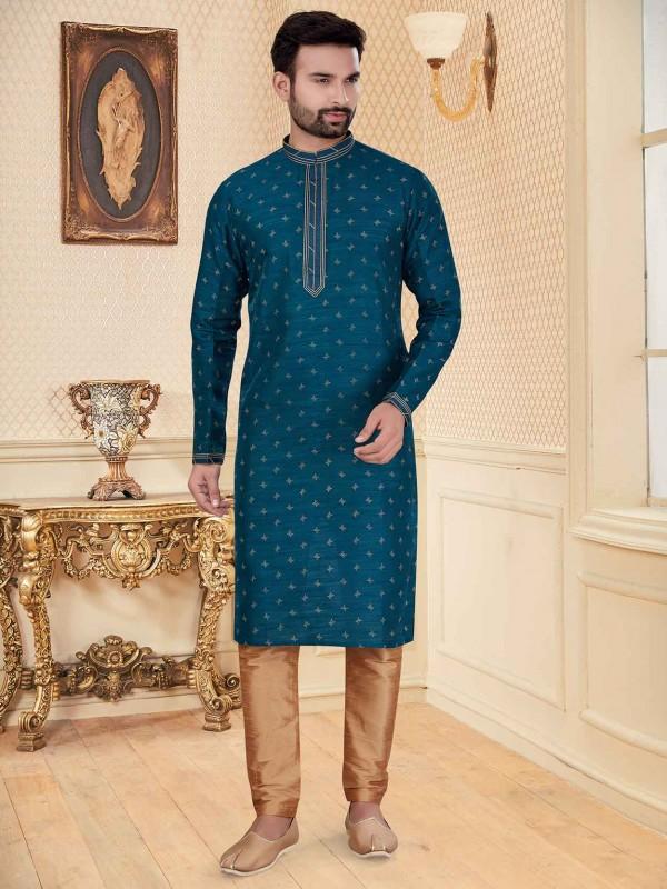 Dark Green Colour Silk Kurta Pajama.