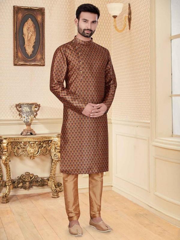 Multi Colour Silk Fabric Digital Print Men's Kurta Pajama.
