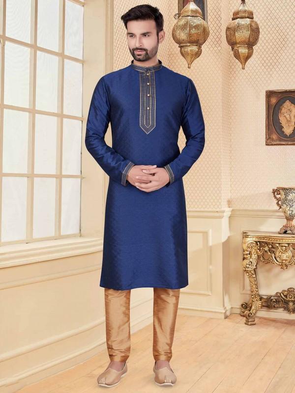 Navy Blue Colour Jacquard Fabric Men's Kurta Pajama.
