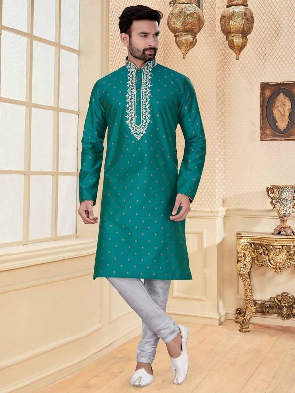 Green Colour Silk Fabric Ethnic Kurta Pajama.