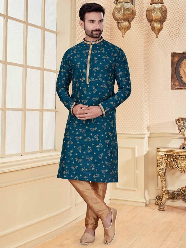 Blue Colour Jacquard Fabric Men's Kurta Pajama.