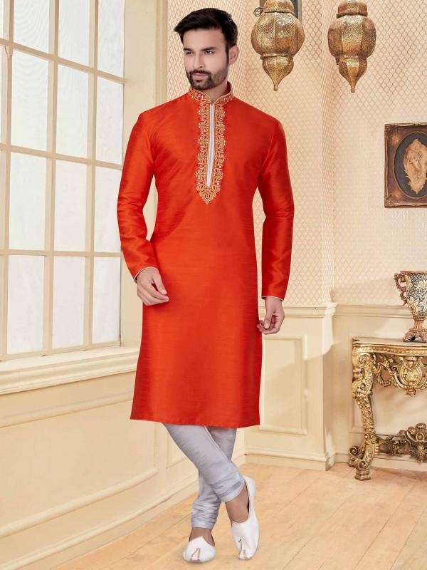 Orange Colour Silk Fabric Designer Kurta Pajama.