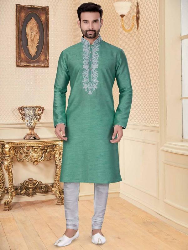 C Green Colour Silk Kurta Pajama For Men.