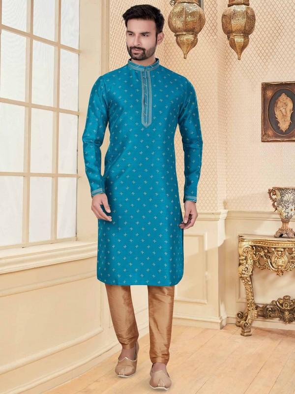 Blue Colour Silk Fabric Digital Print Kurta Pajama.