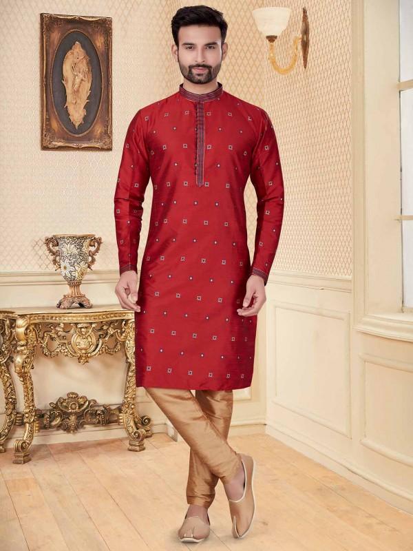 Maroon Colour Silk Fabric Men's Kurta Pajama.