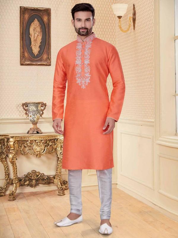 Orange Colour Silk Fabric Men's Kurta Pajama.