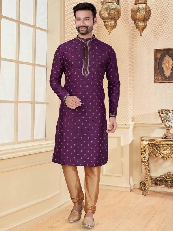 Purple Colour Silk Party Wear Kurta Pajama.