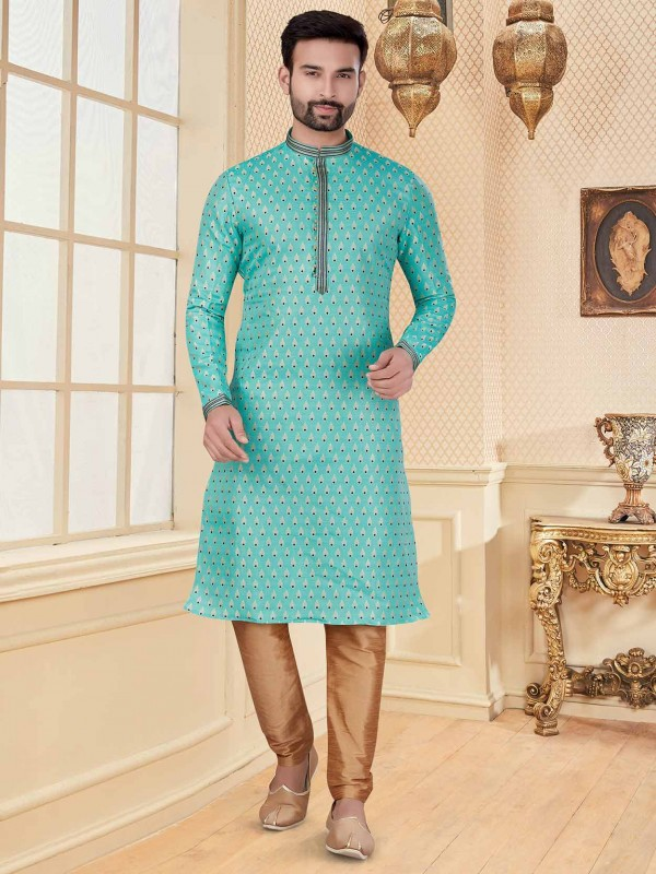 Turquoise Colour Silk Kurta Pajama With Zari Work.