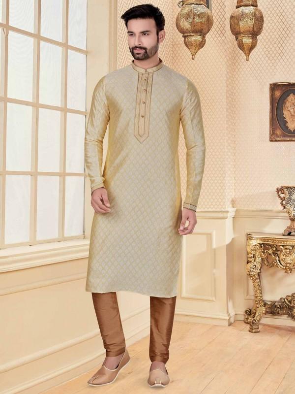 Cream Colour Jacquard Fabric Designer Kurta Pajama With Zari Work.