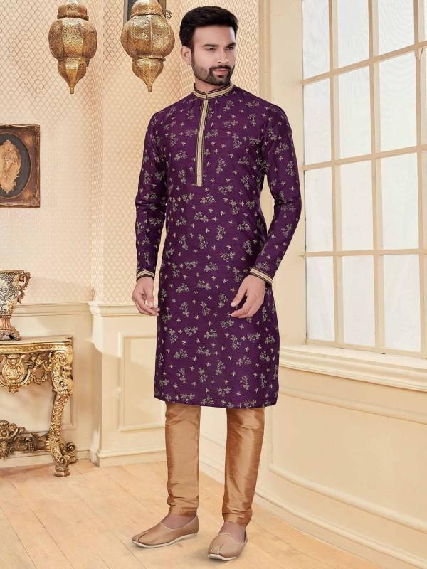 Purple Colour Silk Fabric Digital Print Kurta Pajama.