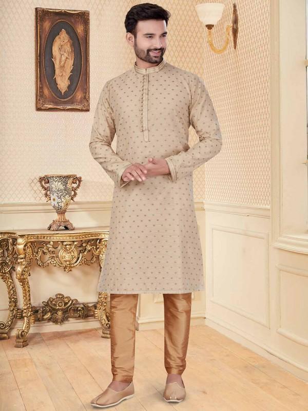 Cream Colour Silk Kurta Pajama.