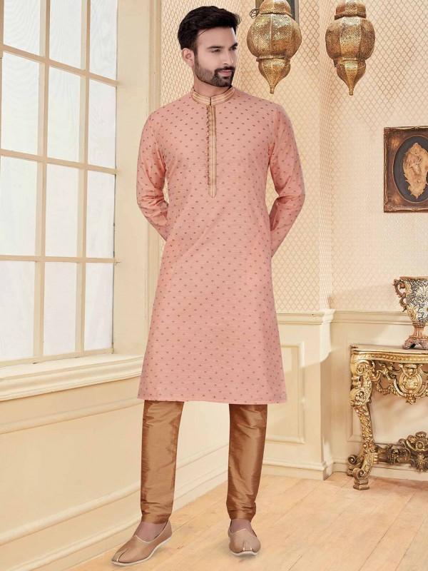 Peach Colour Silk Kurta Pajama.