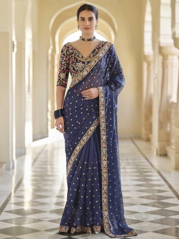 Navy Blue Colour Organza Fabric Party Wear Saree.