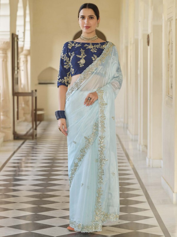 Organza Fabric Mint Blue Colour Women Saree.