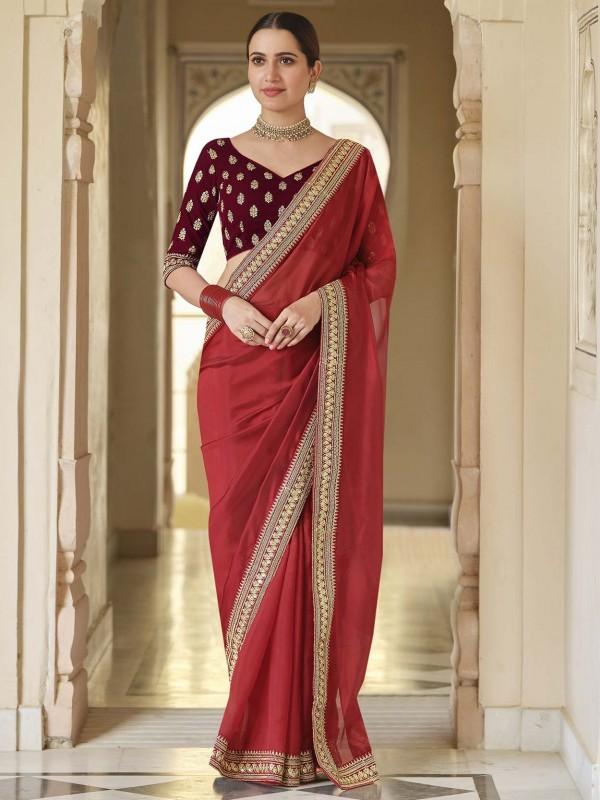 Indian Wedding Saree Red Colour Organza Fabric.