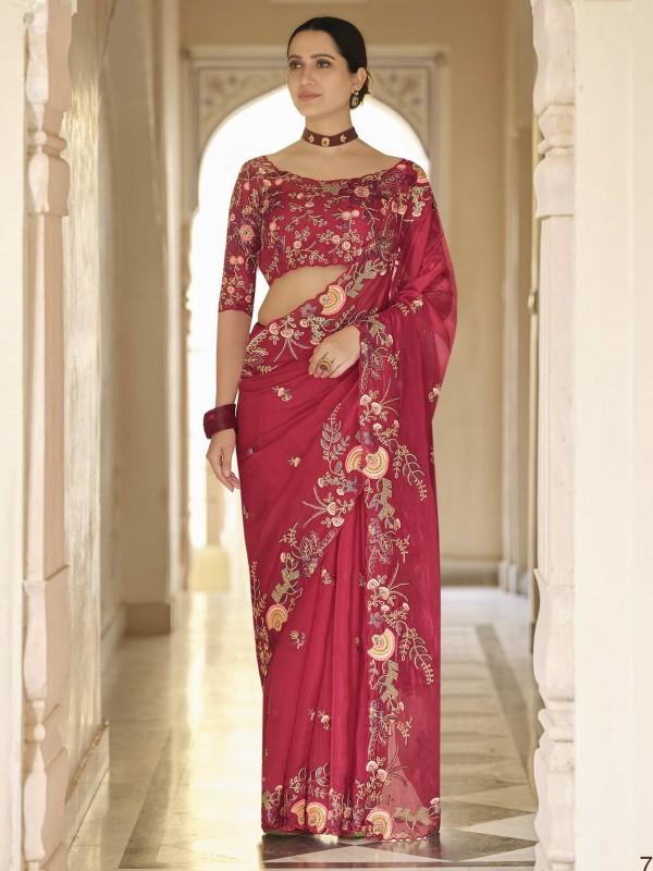 Stylish Designer Saree Red Colour Organza Fabric.