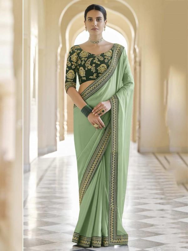 Green Colour Organza Fabric Designer Saree.