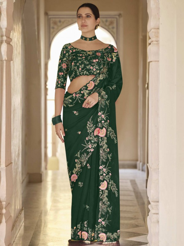 Green Colour Organza Fabric Party Wear Saree.