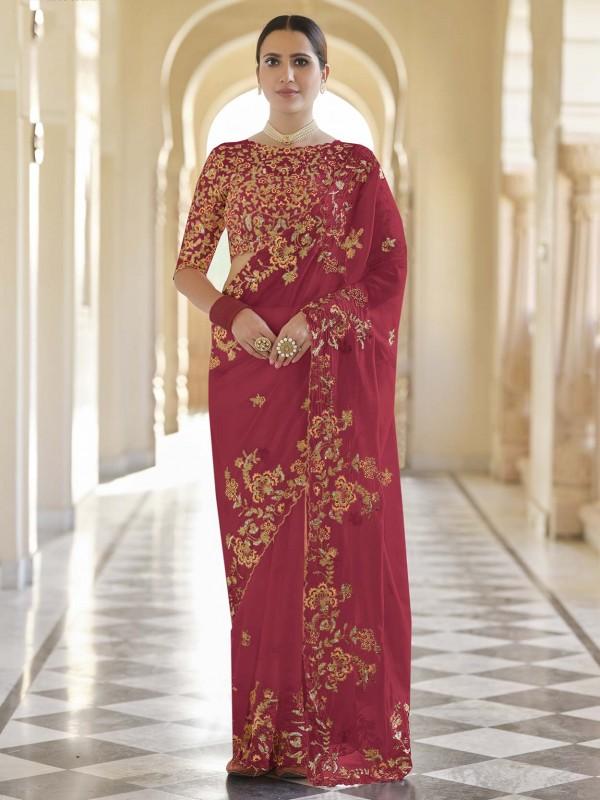 Red Colour Organza Fabric Designer Bridal Saree.