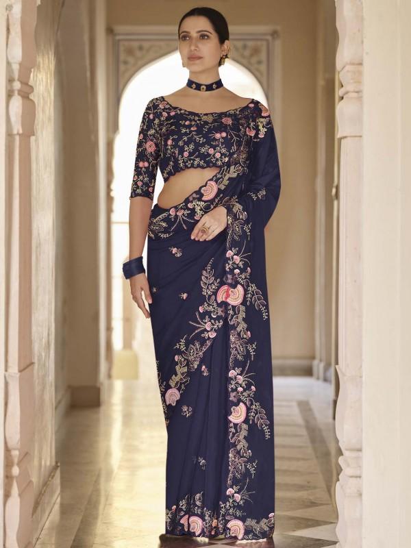 Navy Blue Colour Organza Fabric Designer Party Wear Saree.