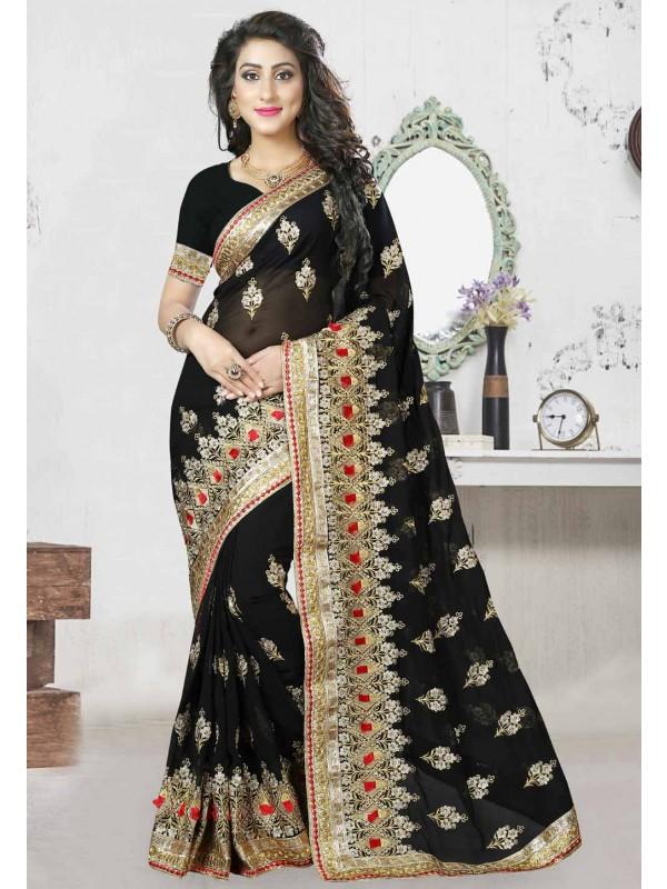 Black Color Saree With Striking Embroidery Pallu