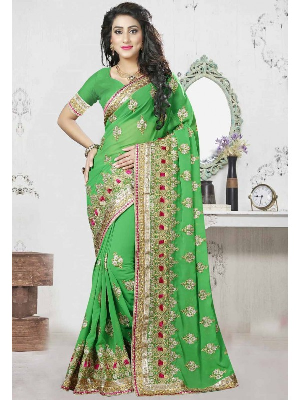 Parrot Green Color Saree With Gorgeous Embroidery Pallu