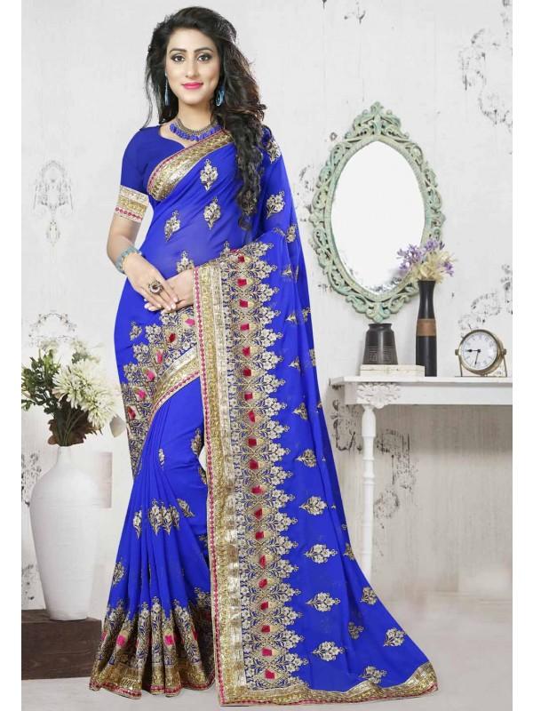 Royal Blue Color Party Wear Sarees