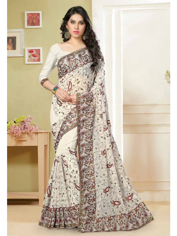 Off White Color Saree With Gorgeous Embroidery Pallu