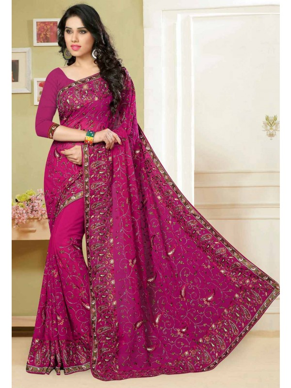 Rani Pink Color Saree With Attractive Embroidery Pallu