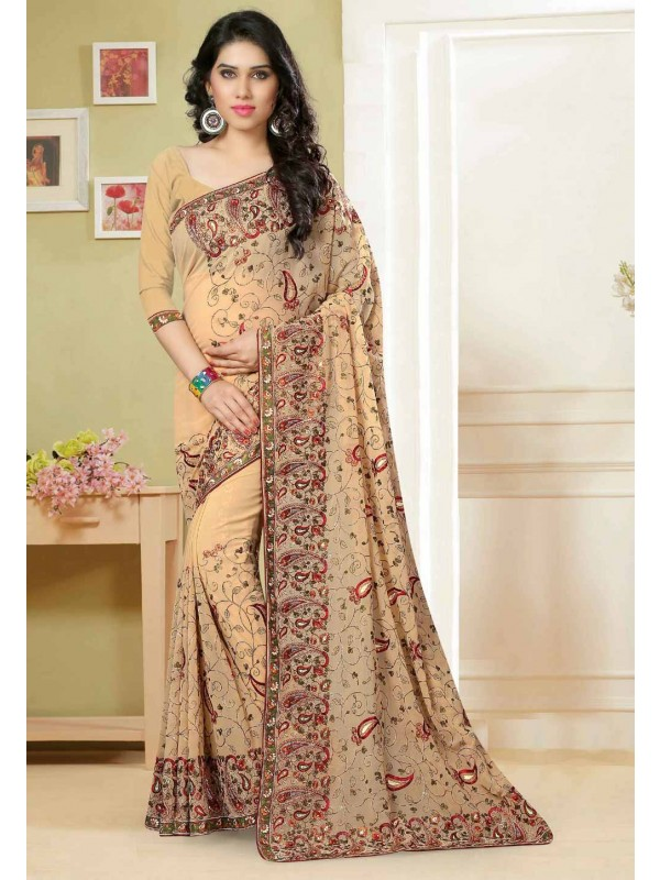 Beige Color Saree With Striking Embroidery Pallu