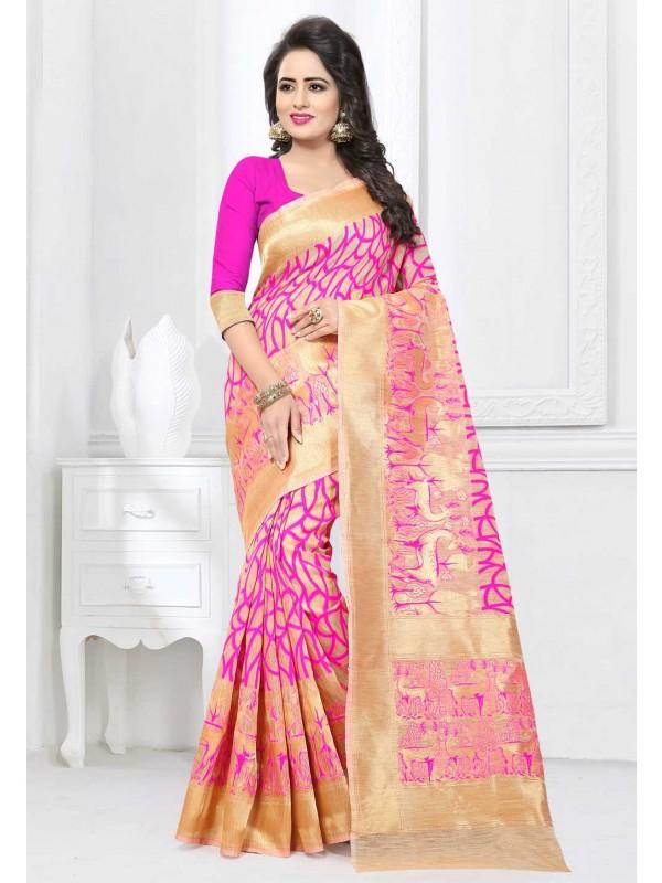 Beige,Pink Color designer Saree