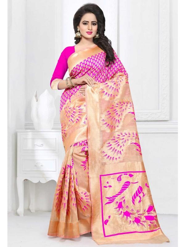 Women's Attractive Looking Ethnic Beige Color Saree