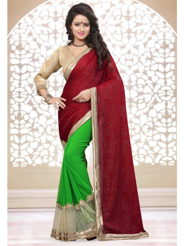 Nice Looking Red Parrot Green Color Traditional Saree