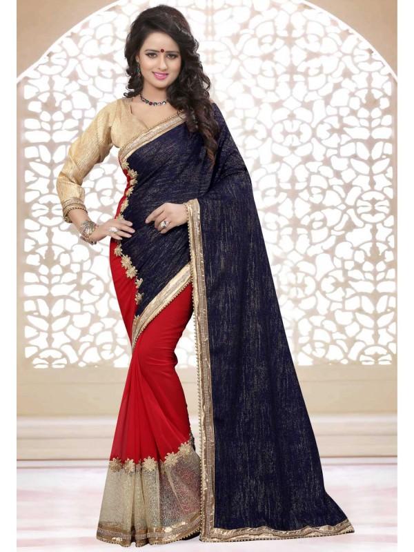 Women's Attractive Looking Blue,Red Color Georgette,Velvet Saree