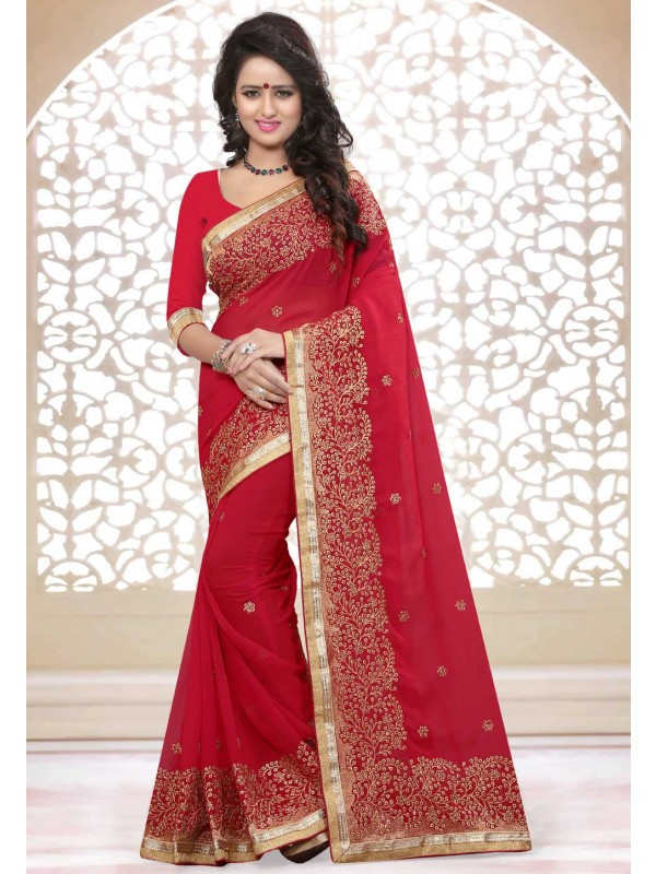 Traditional Look Red Color Designer Saree