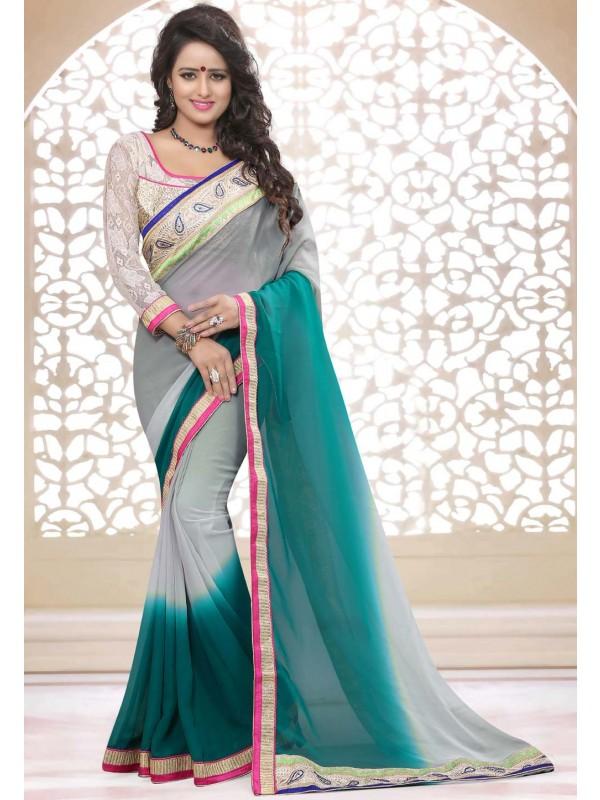 Grey,Green Color Designer Saree