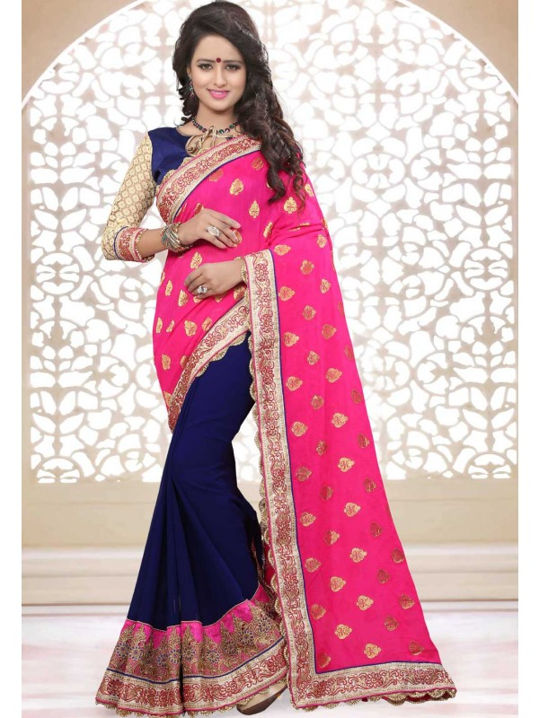Women's Attractive Looking Ethnic Blue,Pink Color Saree